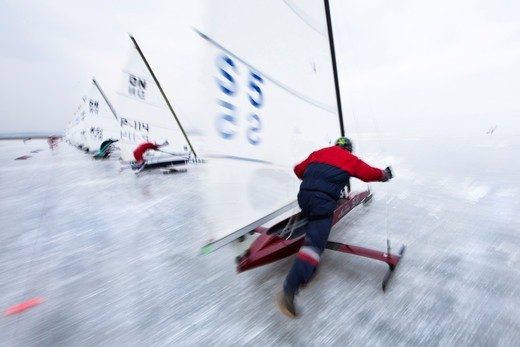 Stock Photo: 4115-3732 Racing in the DN (Detroit News) Ice Sailing World Championship, Neusiedlersee, Austria, 2010.