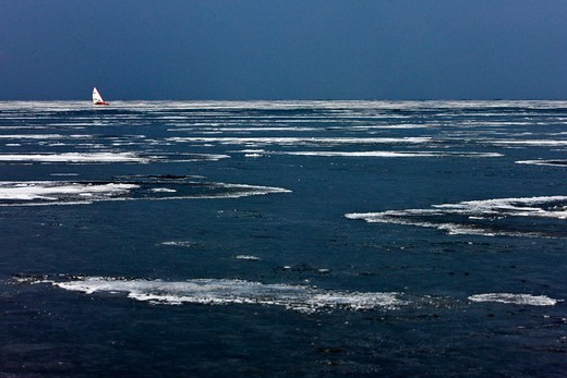 Stock Photo: 4115-3733 Ice yacht in the distance during the DN (Detroit News) Ice Sailing World Championship, Neusiedlersee, Austria, 2010.