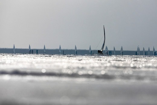 Stock Photo: 4115-3734 Fleet of ice yachts int he ice during the DN (Detroit News) Ice Sailing World Championship Neusiedlersee, Austria, 2010.