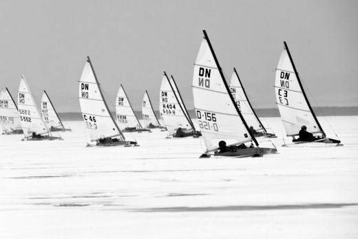 Stock Photo: 4115-3736 Fleet racing in the DN (Detroit News) Ice Sailing World Championship. Neusiedlersee, Austria, 2010.