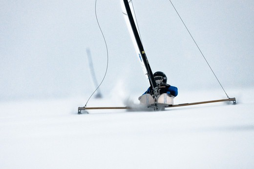 Stock Photo: 4115-3737 US-44 Ronald Sherry (USA) racing in the DN (Detroit News) Ice Sailing World Championship. Neusiedlersee, Austria, 2010.