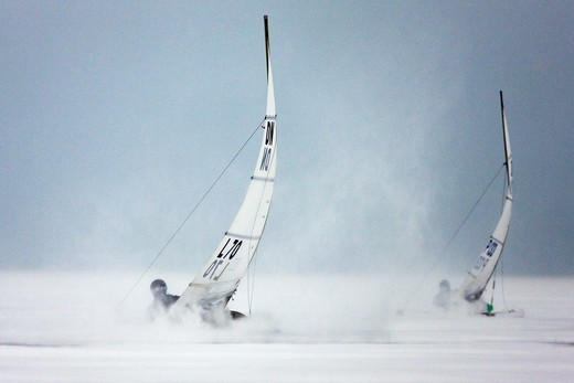 Stock Photo: 4115-3738 Racing in the DN (Detroit News) Ice Sailing World Championship. Neusiedlersee, Austria, 2010.