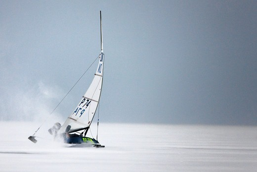 Stock Photo: 4115-3739 P-74 Jerzy Taber (Poland) during the DN (Detroit News) Ice Sailing World Championship. Neusiedlersee, Austria, 2010.