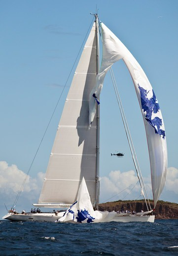 Ripped spinnaker on board 'Salperton IV' during the Saint Barths Bucket Super Yacht Regatta, Caribbean, 2010. : Stock Photo