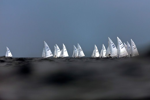 Stock Photo: 4115-3762 Fleet during the Star World Championships, Varberg, Sweden, 2009.