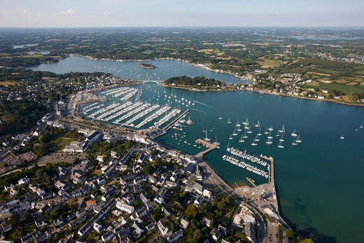 Stock Photo: 4115-3787 Aerial view of Morbihan and marina, Brittany, France, 2010.