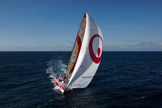 Stock Photo: 4115-3803 Veolia Environment 2', skippered by Roland Jourdain, during qualification for 2010 Route du Rhum, France, 2010.