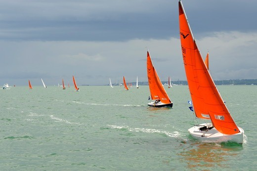 Squib fleet racing at Cowes Week, Isle of Wight, England, August 2010. All non-editorial uses must be cleared individually. : Stock Photo