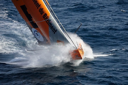 Imoca open 60 'PRB' during qualification for Route du Rhum 2010, France, September 2010. : Stock Photo