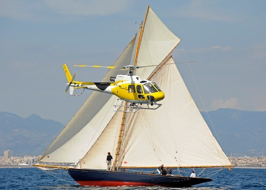 Stock Photo: 4115-3859 Marigan', built in 1898 and designed by John Livingstone, during the PalmaVela Regatta, Palma, Majorca, Spain, April 2010.