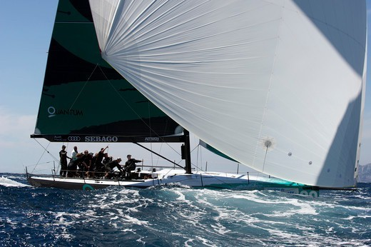 Stock Photo: 4115-3880 Quantum Racing' under spinnaker during the TP52 Audi Med Cup. Marseille, France, June 2010.