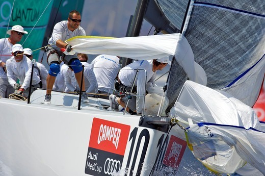 Sailwork during TP52 Audi Med Cup, Barcelona, Spain, July 2010. : Stock Photo