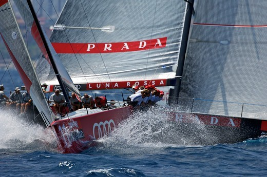 Stock Photo: 4115-3893 All4One' and 'Luna Rossa' racing in the TP52 Audi Med Cup, Barcelona, Spain, July 2010.