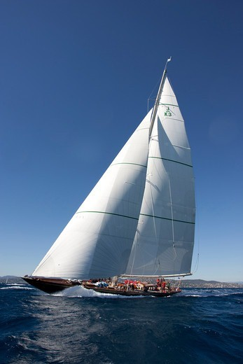 Stock Photo: 4115-3933 J-class 'Shamrock V' during Les Voiles De St Tropez, France, September 2010. All non-editorial uses must be cleared individually.