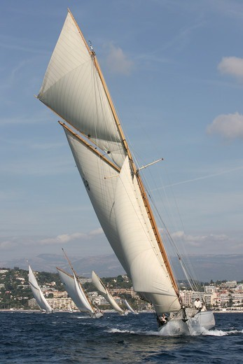 Moonbeam IV' during race in Cannes Royal Regatta, France 2008. All non-editorial uses must be cleared individually. : Stock Photo