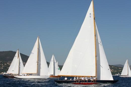 Stock Photo: 4115-3983 Yachts racing during Les Voiles De St Tropez, France, 2007.