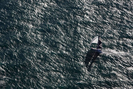 Stock Photo: 4115-4003 Aerial view of IMOCA open 60 'Mirabaud' training ahead of the Barcelona World Race. Ile d'yeu, France, November 2010.