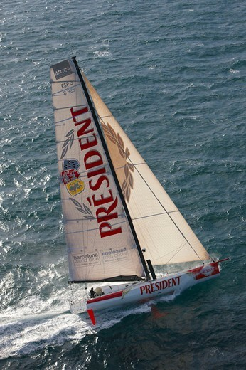 Stock Photo: 4115-4006 IMOCA open 60 'President' training ahead of the Barcelona World Race. Port la Foret, Brittany, France, November 2010.