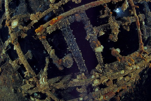 The ceiling of wrecked crude oil super-tanker 'Amoco Milford Haven', on which it is still possible to see crude oil. The tanker sank on April 14th, 1991 after three days of fire. Genoa, Italy, 2007. : Stock Photo