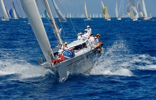 Stock Photo: 4115-4090 Leading the fleet during the Windward Leeward Race on day two of the Heineken Regatta, St Martin, Caribbean, March 2011.