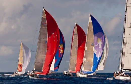 Stock Photo: 4115-4144 Fleet racing under colourful spinnakers during the Heineken Regatta, St Martin, Caribbean, March 2011.