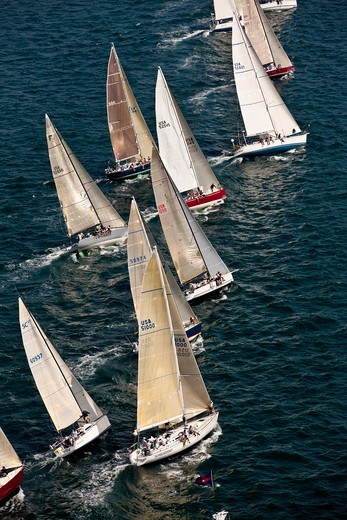 Stock Photo: 4115-4159 Fleet beginning the Newport-Bermuda Race, Rhode Island, USA, June 2010. All non-editorial uses must be cleared individually.