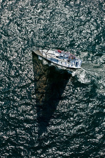 Aerial view of yacht at the beginning of the Newport-Bermuda Race, Rhode Island, USA, June 2010. All non-editorial uses must be cleared individually. : Stock Photo