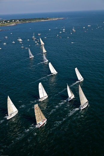 Stock Photo: 4115-4165 Aerial view of fleet beginning the Newport-Bermuda Race, Rhode Island, USA, June 2010. All non-editorial uses must be cleared individually.