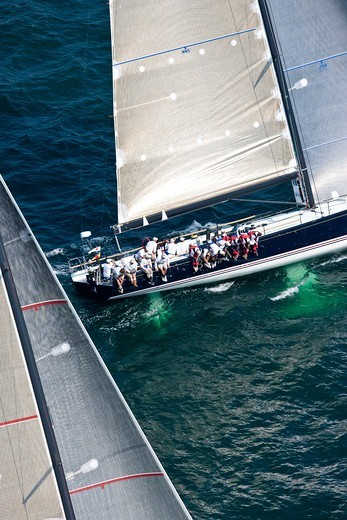 Stock Photo: 4115-4166 Aerial view of two yachts racing at the beginning of the Newport-Bermuda Race, Rhode Island, USA, June 2010. All non-editorial uses must be cleared individually.