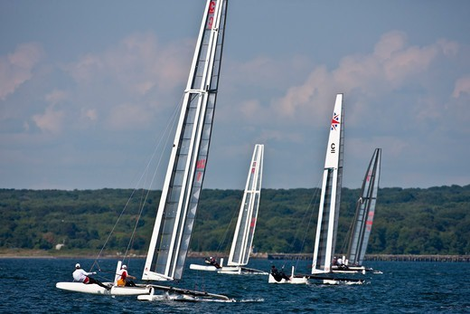Stock Photo: 4115-4175 C-Class catamaran fleet during training for Little America's Cup. Newport, Rhode Island, USA, August 2010. All non-editorial uses must be cleared individually.