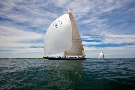 Stock Photo: 4115-4296 J-class yacht 'Velsheda' under spinnaker during the J Class Regatta, Newport, Rhode Island, USA, June 2011. All non-editorial uses must be cleared individually.