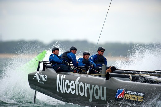 Stock Photo: 4115-4362 Nice For You' during fleet race on day six of the Extreme 40 Sailing Series in Cowes. Isle of Wight, England, August 2011. All non-editorial uses must be cleared individually.