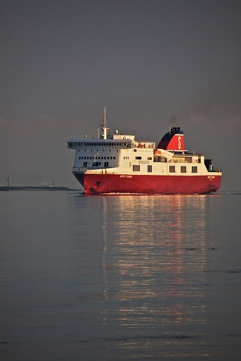 Stock Photo: 4115-4372 Ferry 'Mersey Seaways' arriving at her berth in Birkenhead from Belfast on a hazy morning. River Mersey, England, July 2011. All non-editorial uses must be cleared individually.