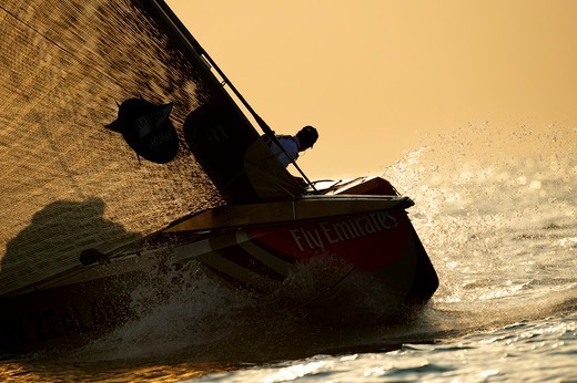 'Mascalzone' during a race in the Louis Vuitton Trophy. Dubai, United Arab Emirates, November 2010. All non-editorial uses must be cleared individually. : Stock Photo