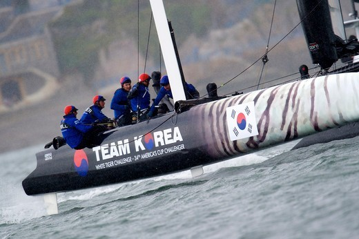 Stock Photo: 4115-4492 'Team Korea' during fleet race on day six of the America's Cup World Series in Plymouth, England, September 2011. All non-editorial uses must be cleared individually.