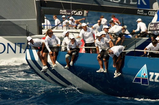 Crew on board 'Audi Azzurra Sailing Team' during the Audi MedCup Circuit event in Barcelona, Spain, September 2011. All non-editorial uses must be cleared individually. : Stock Photo