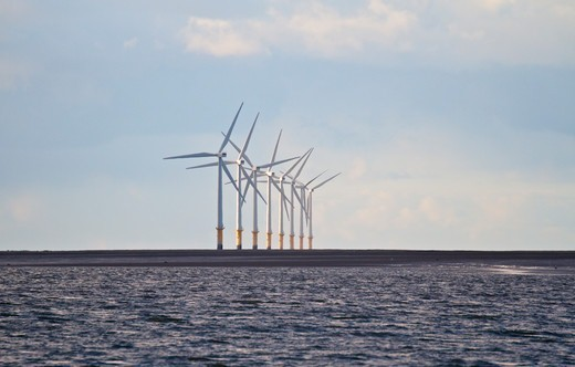 Stock Photo: 4115-4840 Hoyle Bank windfarm viewed from Harrison Drive. New Brighton, Wirral, England, October 2010.