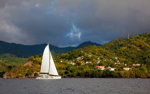 Stock Photo: 4115-4846 Privilege 745 catamaran 'Matau' cruising off Grenada, Caribbean, January 2010. Property released.