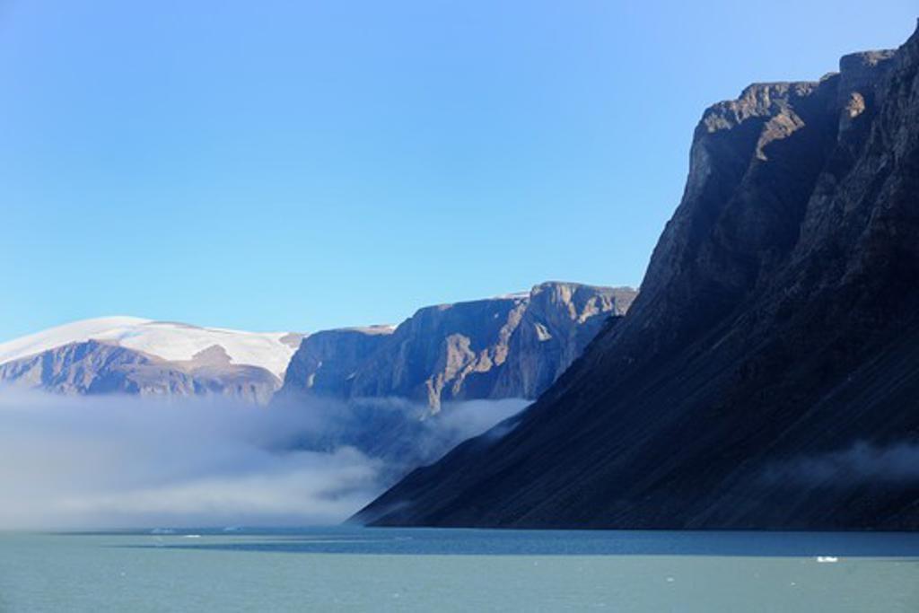 Stock Photo: 4115-4918 North Arm fjord with fog, Baffin Island, Nunavut, Canada,  August 2010
