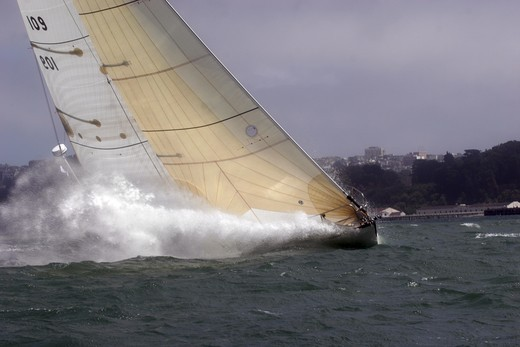 Yacht competing at the start of the Pacific Cup to Hawaii Race, San Francisco Bay, California. July 17, 2008 : Stock Photo
