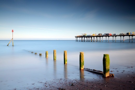 Stock Photo: 4115-5393 Teignmounth Pier and groyne, South Devon, UK. June 2009.