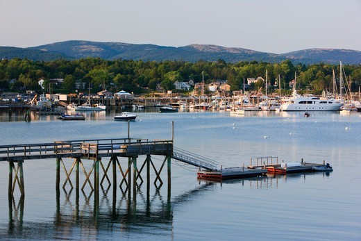 Southwest Harbour, Mount Desert Island, Maine, USA with the mountains of Acadia NP in the background, August 2009 : Stock Photo