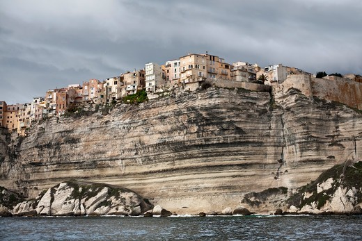 Stock Photo: 4115-6177 View of Bonifacio town, and limestome cliffs. Corsica island, France, February 2010