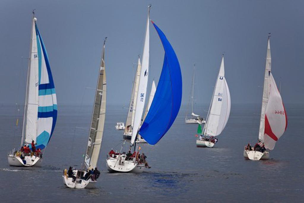 Stock Photo: 4115-763 Start of Eurocard Round Gotland Race, Sandhamn, Sweden