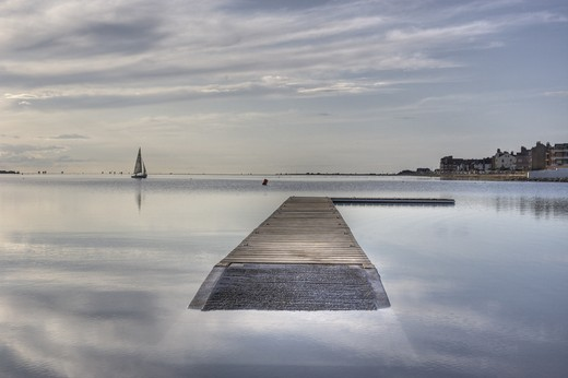 Stock Photo: 4115-769 Newly reopened Marine Lake, West Kirby, on a calm evening