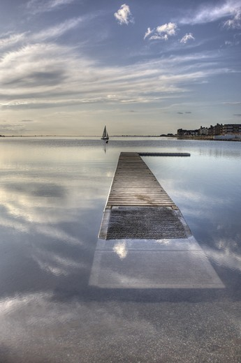 Stock Photo: 4115-770 Newly reopened Marine Lake, West Kirby, on a calm evening