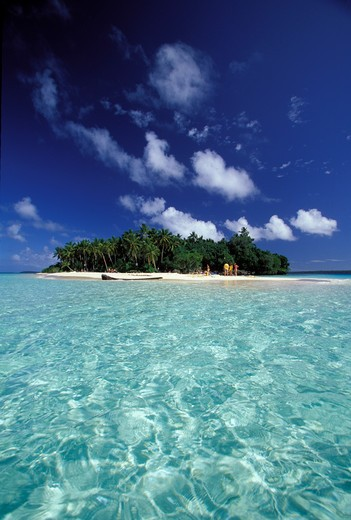 Stock Photo: 4115-977 Small tropical island and clear water in the Vava'u group, Tonga, South Pacific.