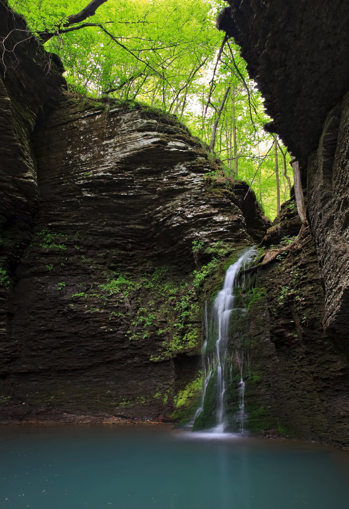 Stock Photo: 4116-112 Waterfall in a forest, Ozark Mountains, Ozark-St. Francis National Forest, Arkansas, USA