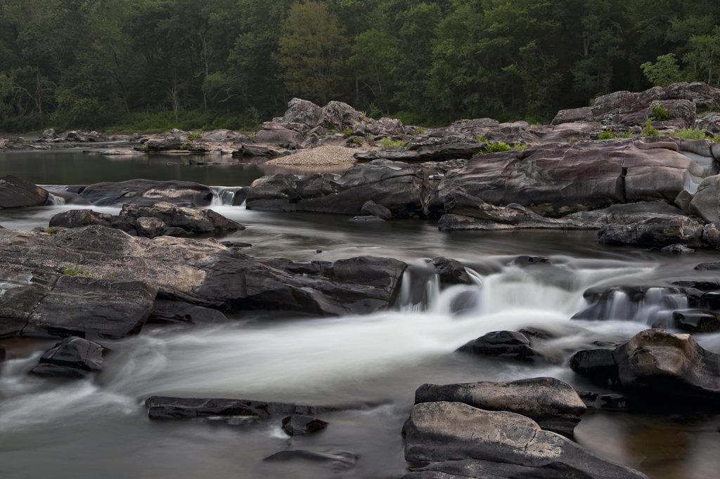Stock Photo: 4116-119 Water falling from rocks in a river, Cossatot Falls, Ouachita Mountains, Cossatot River, Arkansas, USA