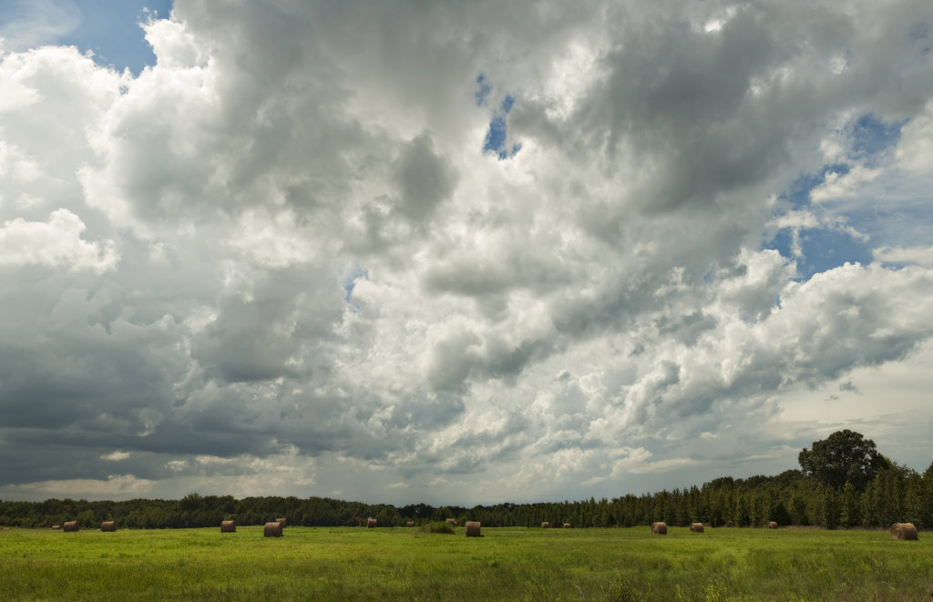 Storm clouds over a field of hay bales, Arkansas, USA : Stock Photo